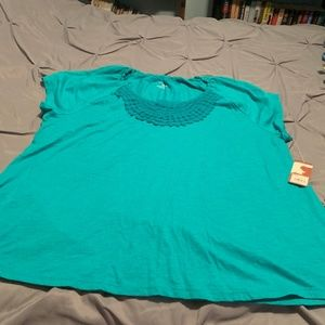 SONOMA WOMEN'S NWT TEAL GREEN SS TOP. SIZE 1XL